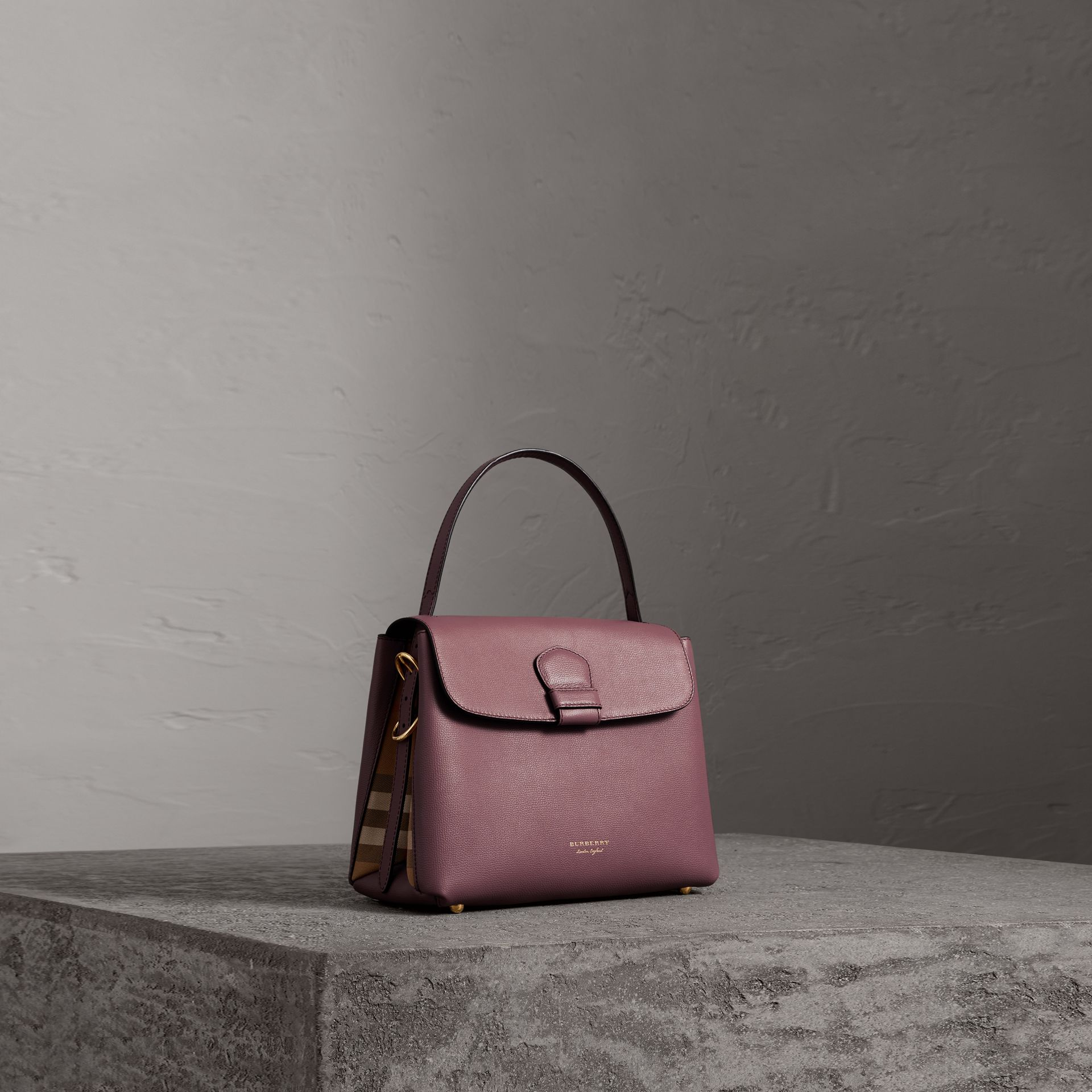 Small Grainy Leather and House Check Tote Bag in Mahogany Red - Women | Burberry United Kingdom - gallery image 0