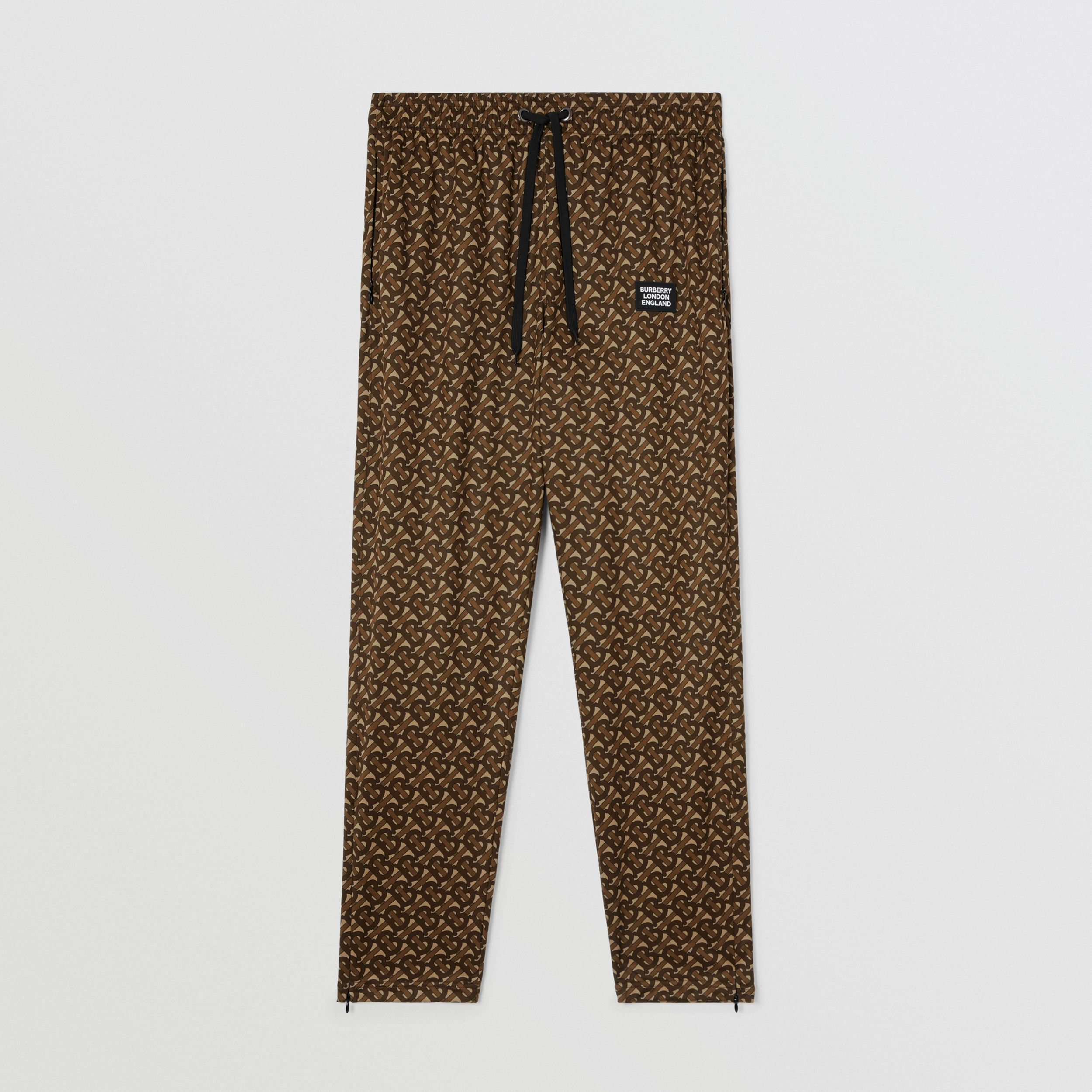 Monogram Print Technical Twill Jogging Pants in Bridle Brown - Men | Burberry Australia - 4