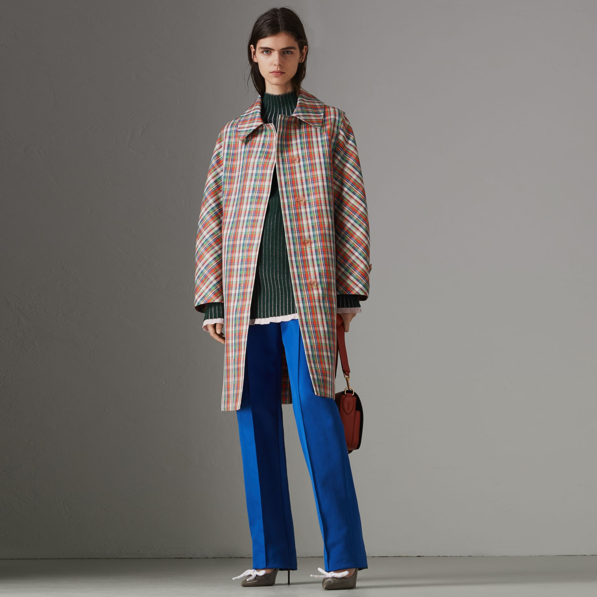 Micro Check Silk Blend Car Coat in Bright Red - Women | Burberry - gallery image 0