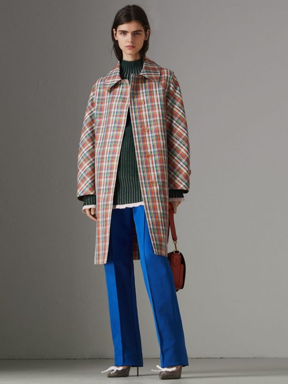 Micro Check Silk Blend Car Coat in Bright Red