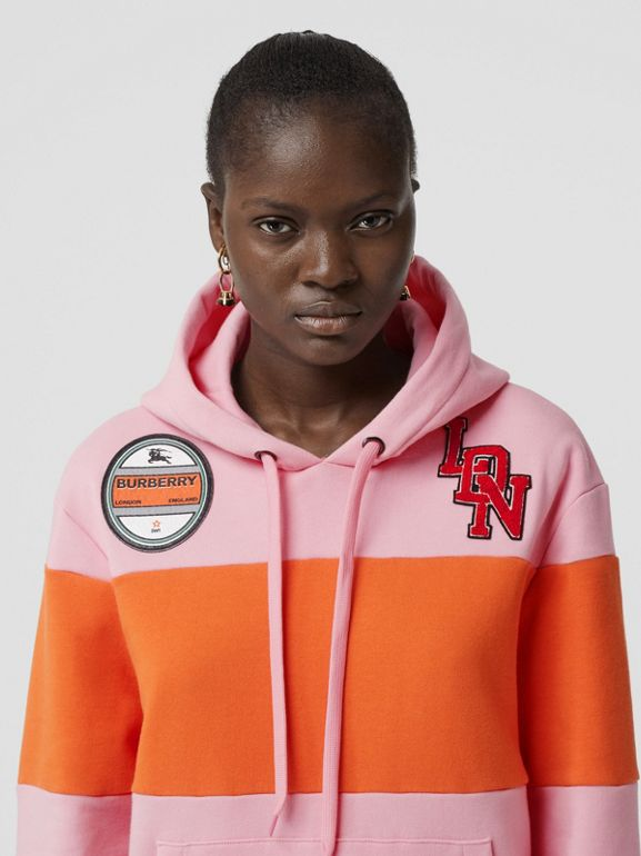 Logo Graphic Panelled Cotton Oversized Hoodie in Candy Pink - Women | Burberry United Kingdom - cell image 1