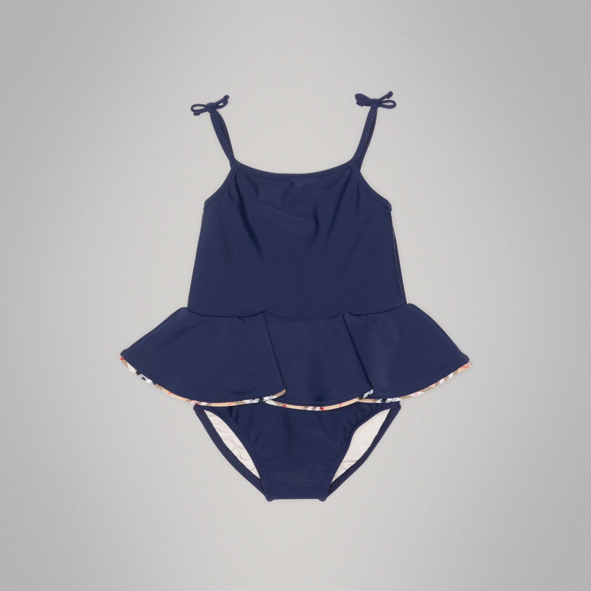 Check Detail Peplum One-piece Swimsuit in Navy - Children | Burberry - gallery image 0