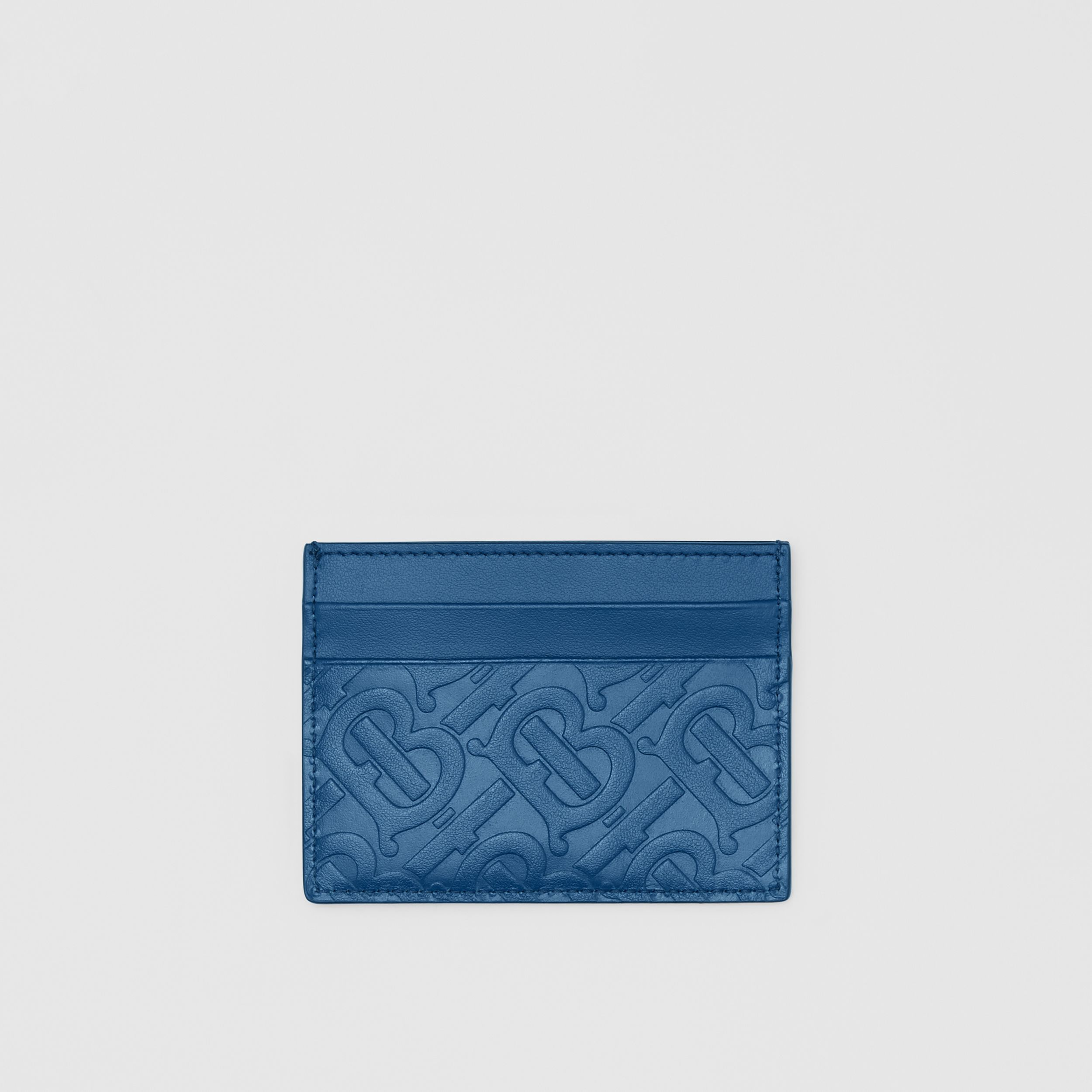 Monogram Leather Card Case in Pale Canvas Blue - Men | Burberry United Kingdom - 1