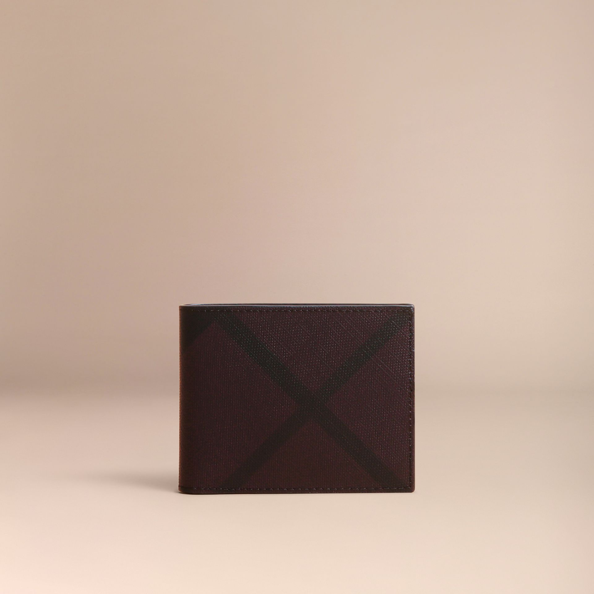 London Check Bifold Wallet in Deep Claret - Men | Burberry - gallery image 6