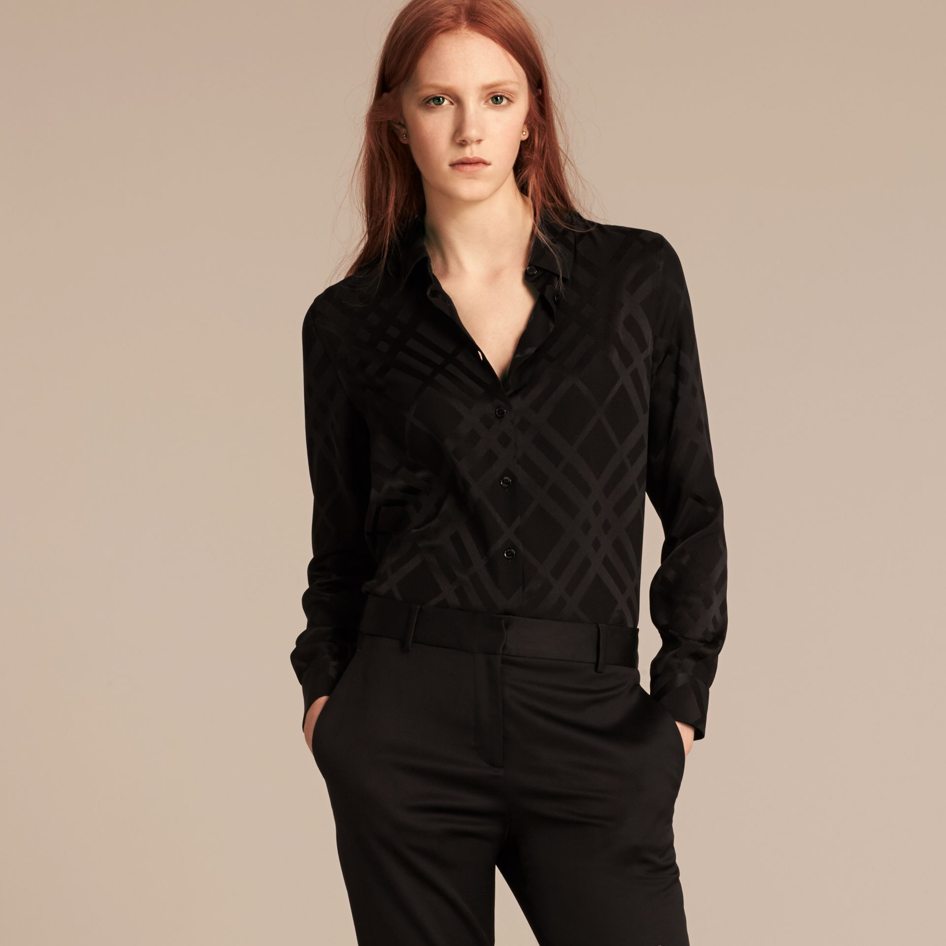 Tonal Check Silk Shirt Black - gallery image 1