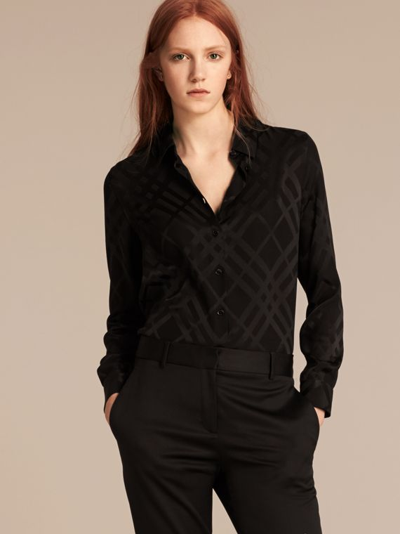 Camisa de checks en seda de distintas tonalidades Negro