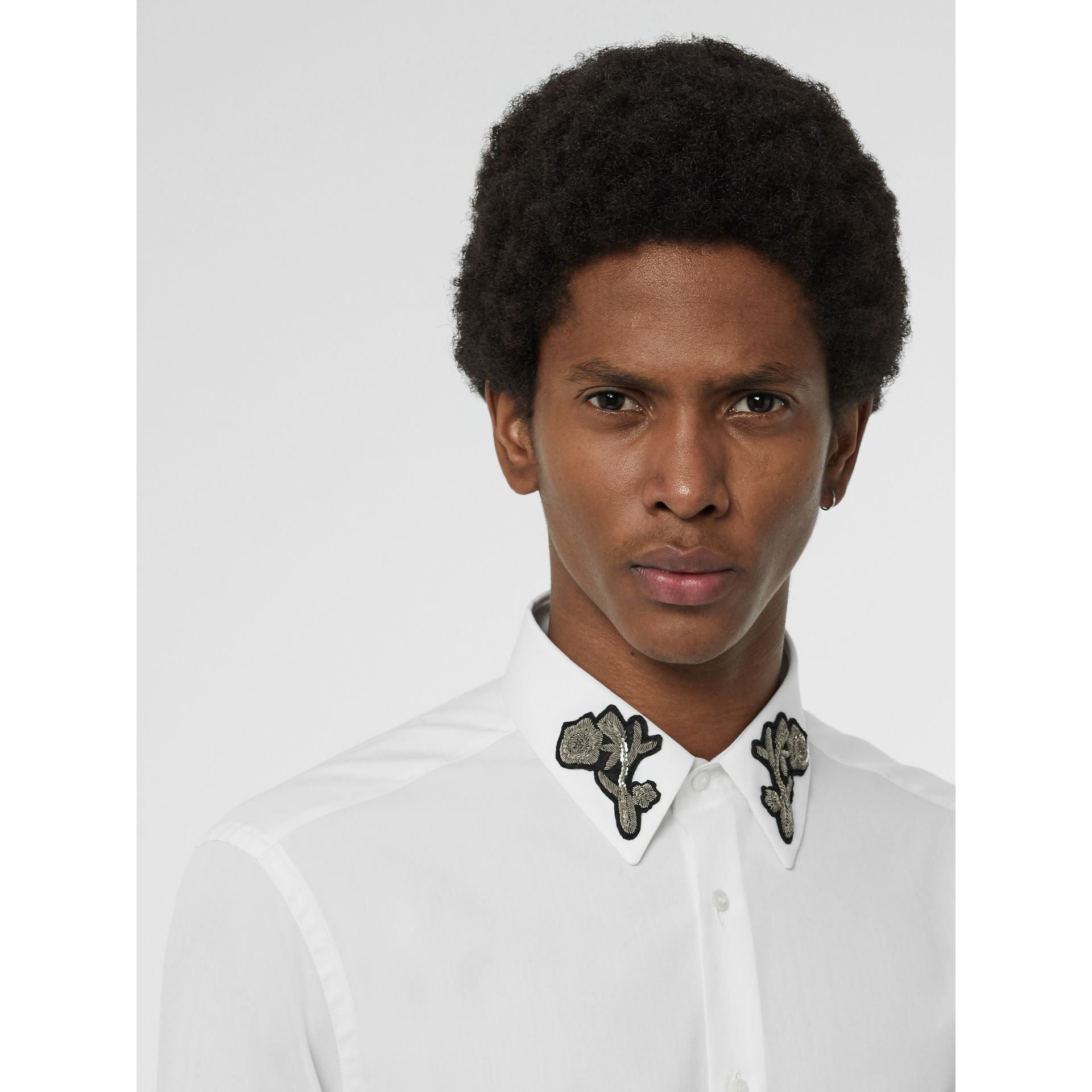 Slim Fit Bullion Floral Cotton Poplin Dress Shirt in White - Men | Burberry - gallery image 1