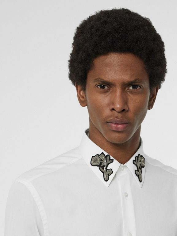 Slim Fit Bullion Floral Cotton Poplin Dress Shirt in White - Men | Burberry United Kingdom - cell image 1