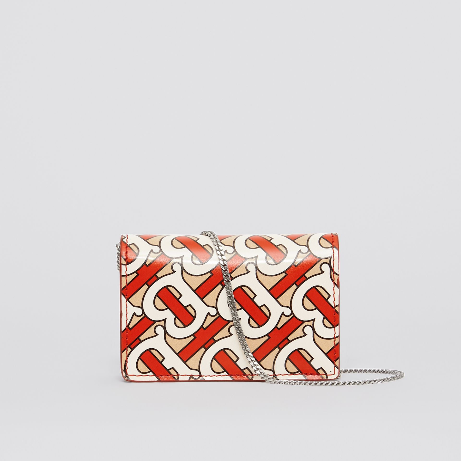 Monogram Print Card Case with Detachable Strap in Vermilion - Women | Burberry - gallery image 7