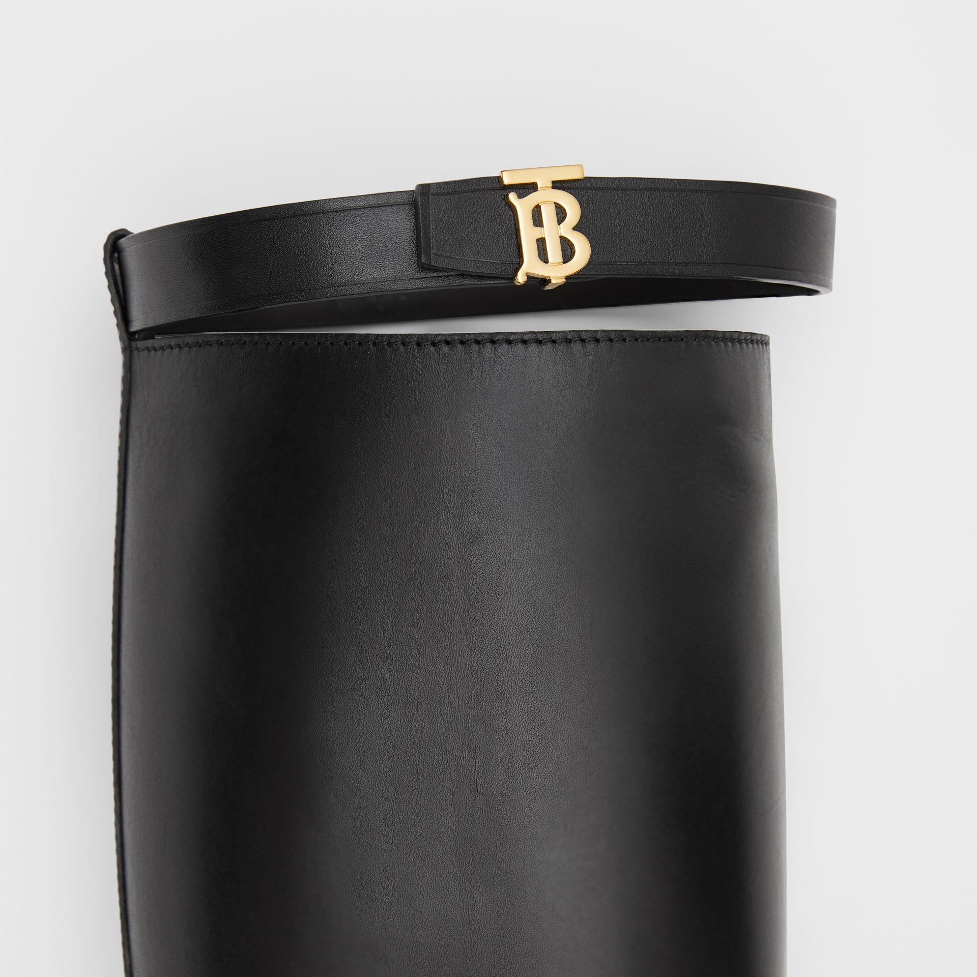 Monogram Motif Leather Knee-high Boots in Black - Women | Burberry United Kingdom - gallery image 1