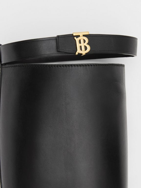 Monogram Motif Leather Knee-high Boots in Black - Women | Burberry United Kingdom - cell image 1