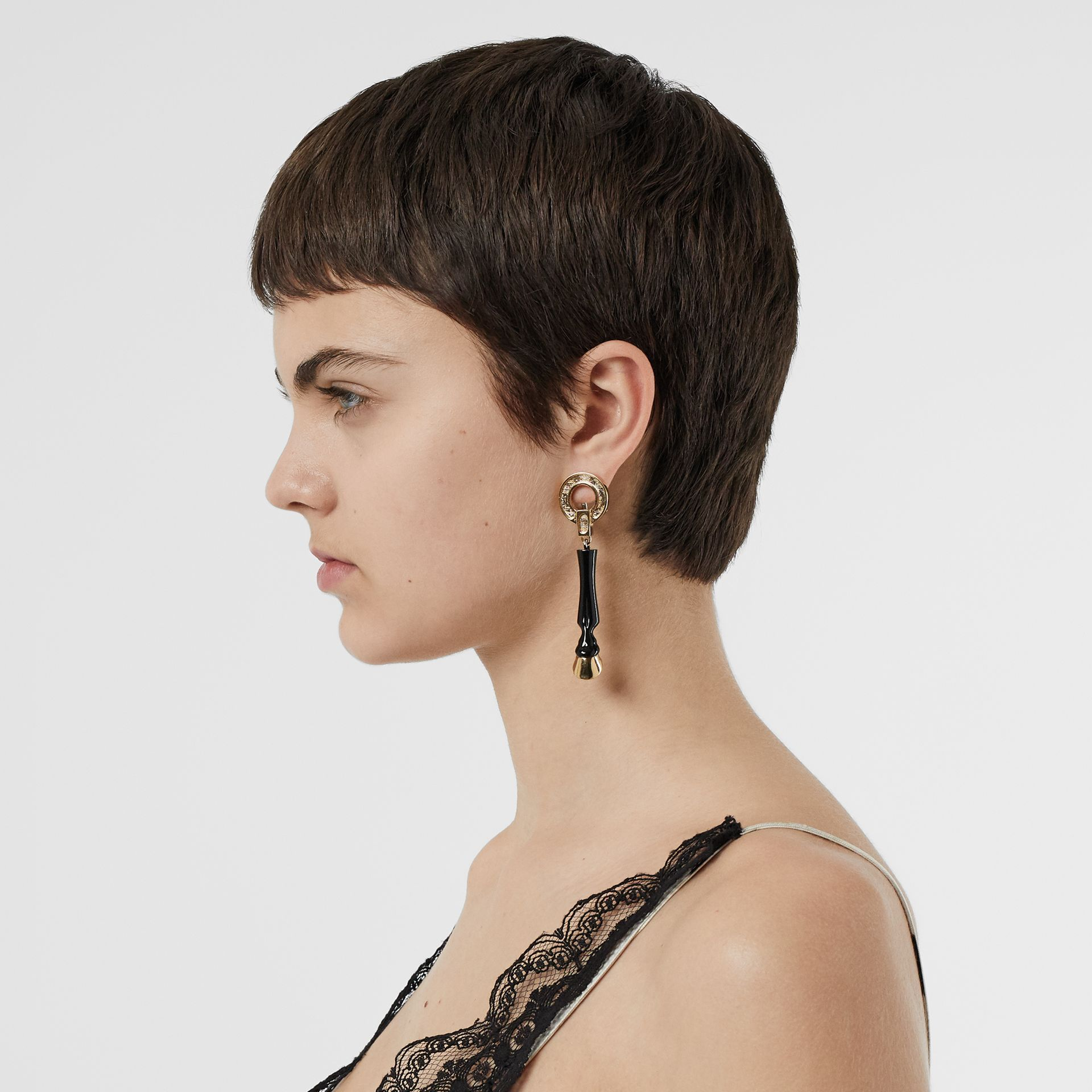 Resin and Gold-plated Hoof Drop Earrings in Black/light - Women | Burberry Singapore - gallery image 2