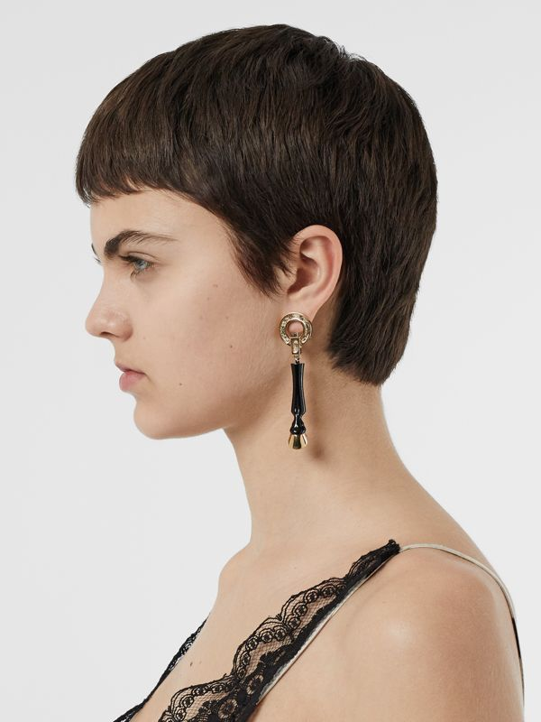 Resin and Gold-plated Hoof Drop Earrings in Black/light - Women | Burberry Singapore - cell image 2