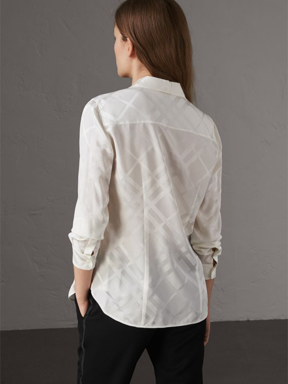 Tonal Check Silk Shirt in White - Women | Burberry - cell image 2