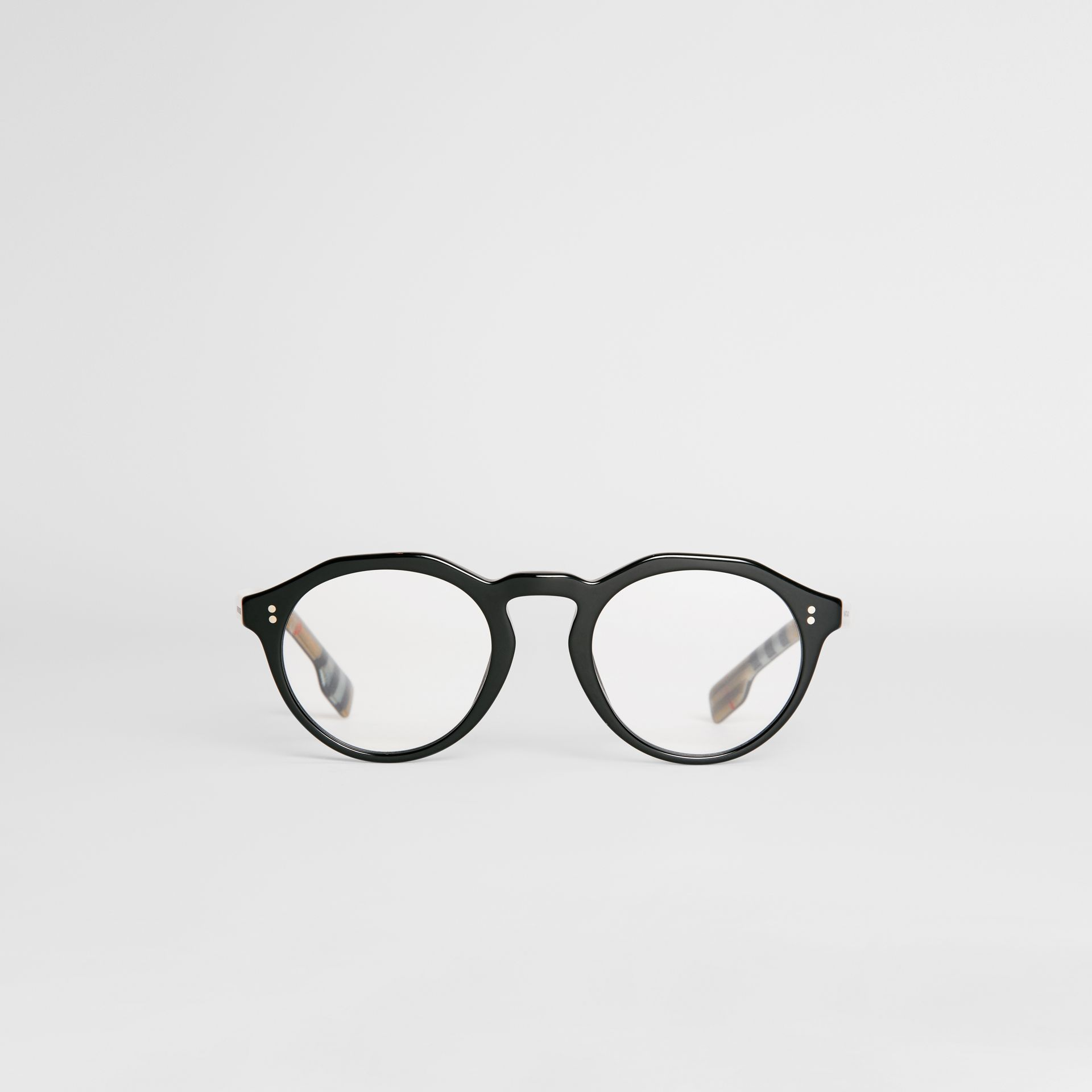 Vintage Check Detail Keyhole Round Optical Frames in Black - Men | Burberry - gallery image 0