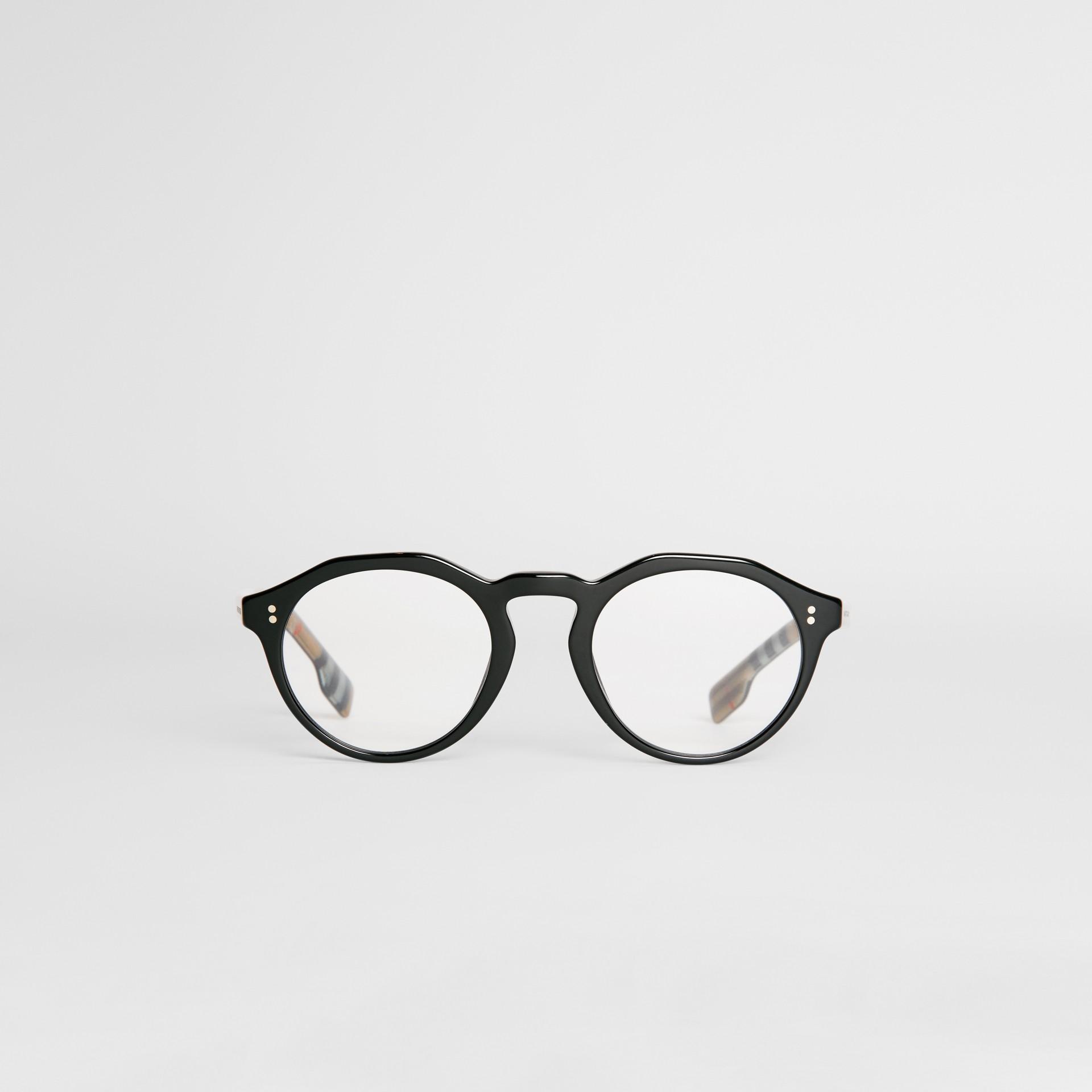 Vintage Check Detail Keyhole Round Optical Frames in Black - Men | Burberry United Kingdom - gallery image 0
