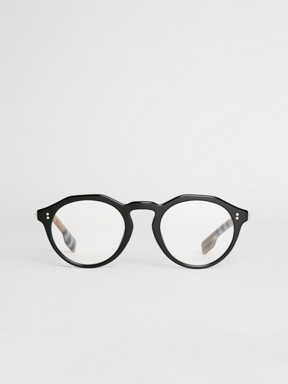 Vintage Check Detail Keyhole Round Optical Frames in Black