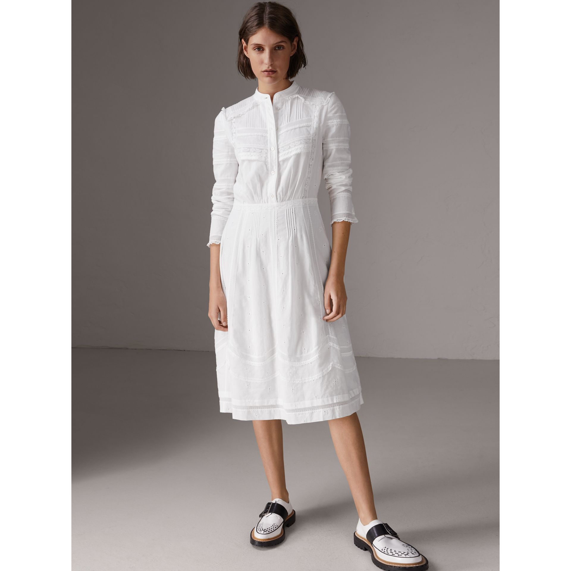 English Lace Detail Cotton Voile Shirt Dress in Off White - Women | Burberry - gallery image 0