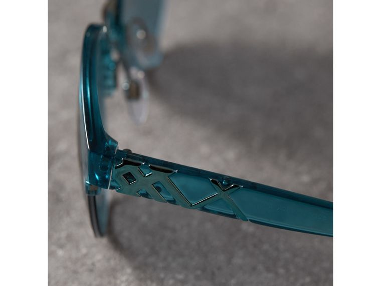 Check Detail Round Half-frame Sunglasses in Blue - Women | Burberry - cell image 1