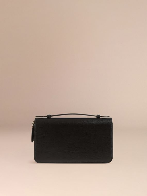 London Leather Travel Wallet in Black - Men | Burberry Hong Kong - cell image 3