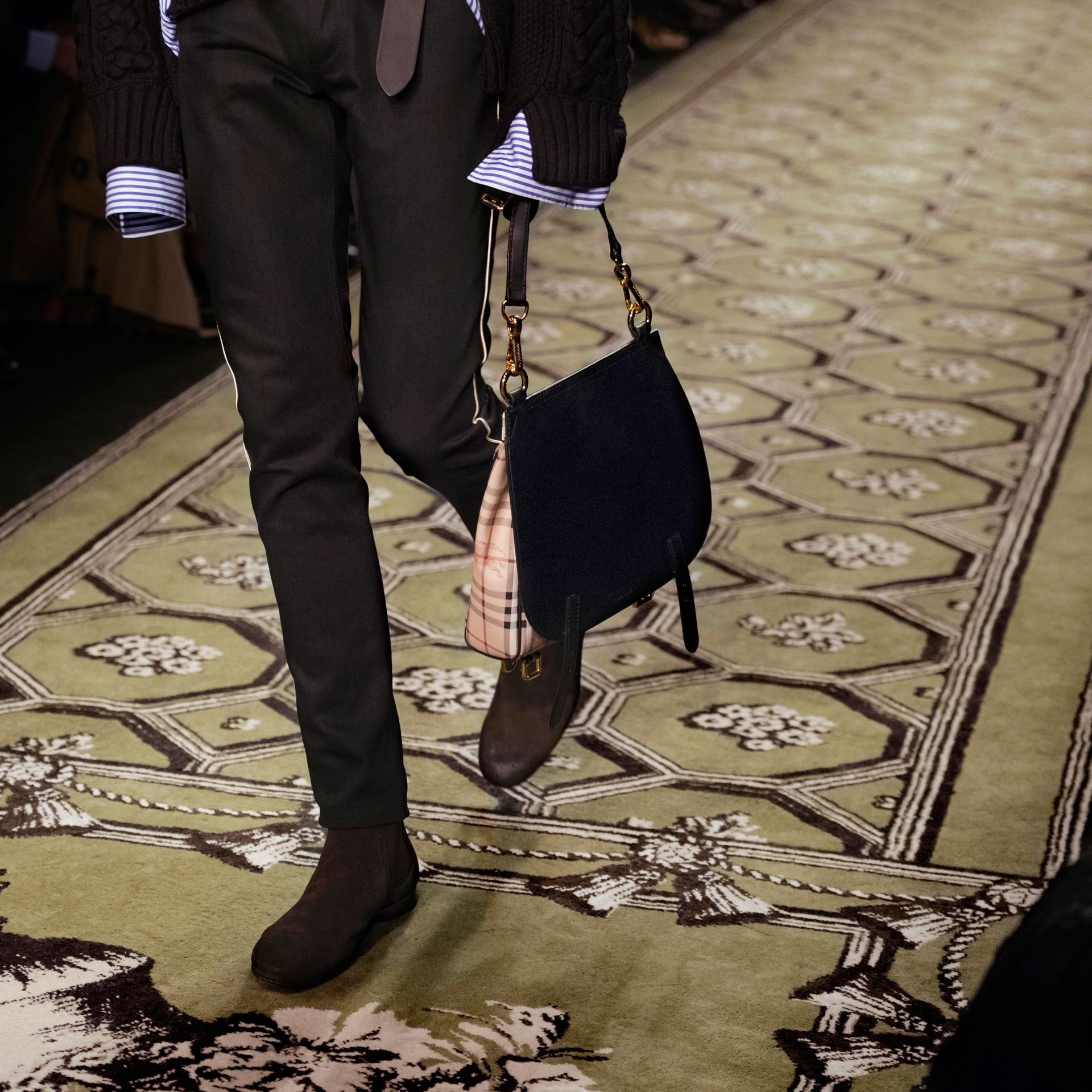 The Small Bridle Bag in Leather and Haymarket Check in Black - Men | Burberry - gallery image 9