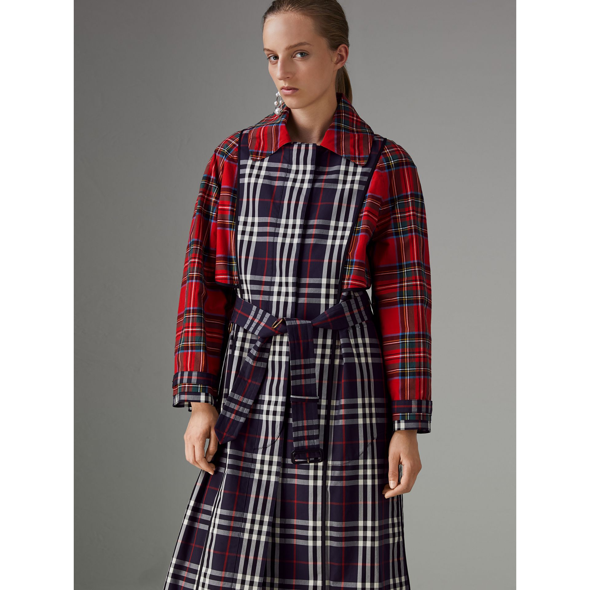 Check and Tartan Cotton Trench Coat in Navy - Women | Burberry United Kingdom - gallery image 1