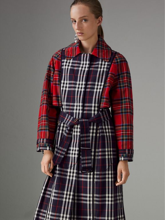 Check and Tartan Cotton Trench Coat in Navy - Women | Burberry - cell image 1