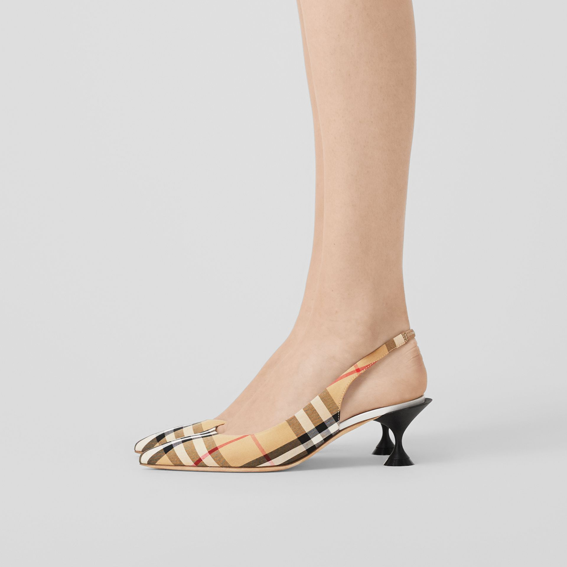 Vintage Check Slingback Pumps in Archive Beige - Women | Burberry - gallery image 2
