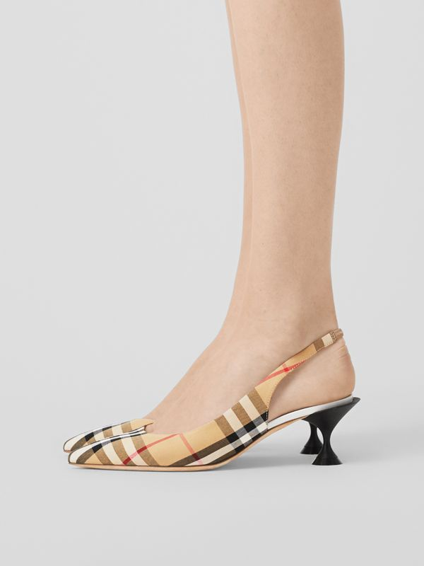 Vintage Check Slingback Pumps in Archive Beige - Women | Burberry Hong Kong S.A.R - cell image 2