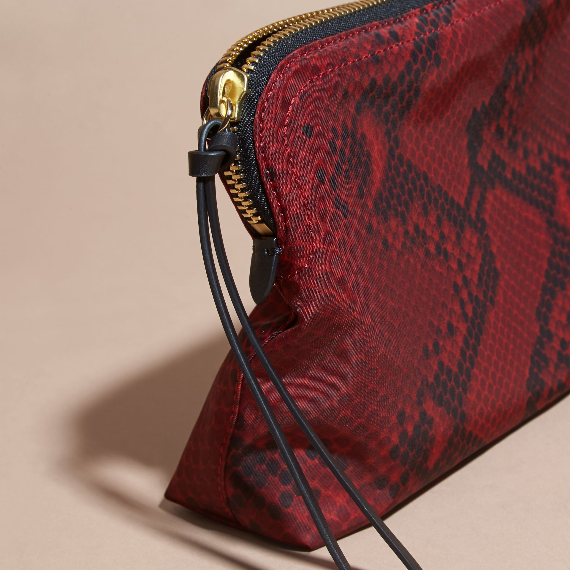 Burgundy red Large Zip-top Python-print Technical Nylon Pouch Burgundy Red - gallery image 2