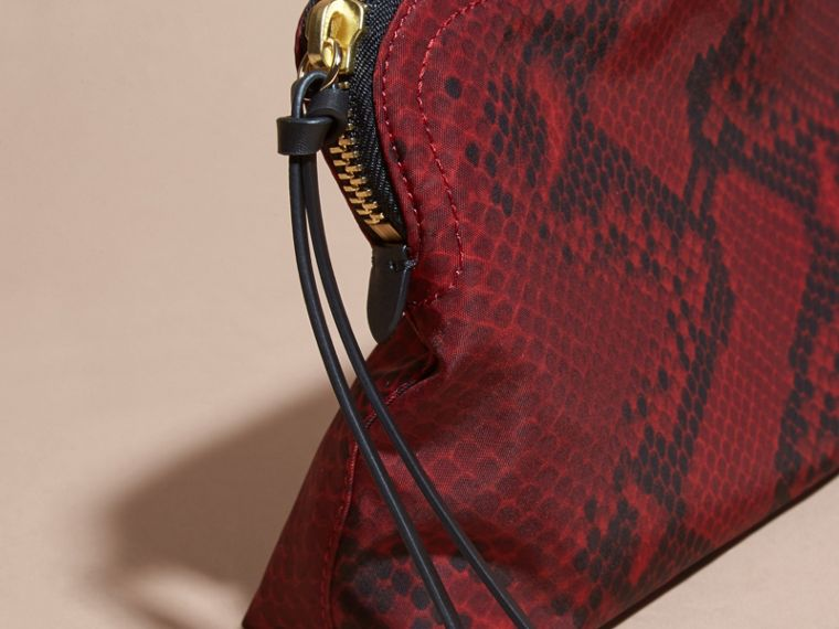 Burgundy red Large Zip-top Python-print Technical Nylon Pouch Burgundy Red - cell image 1