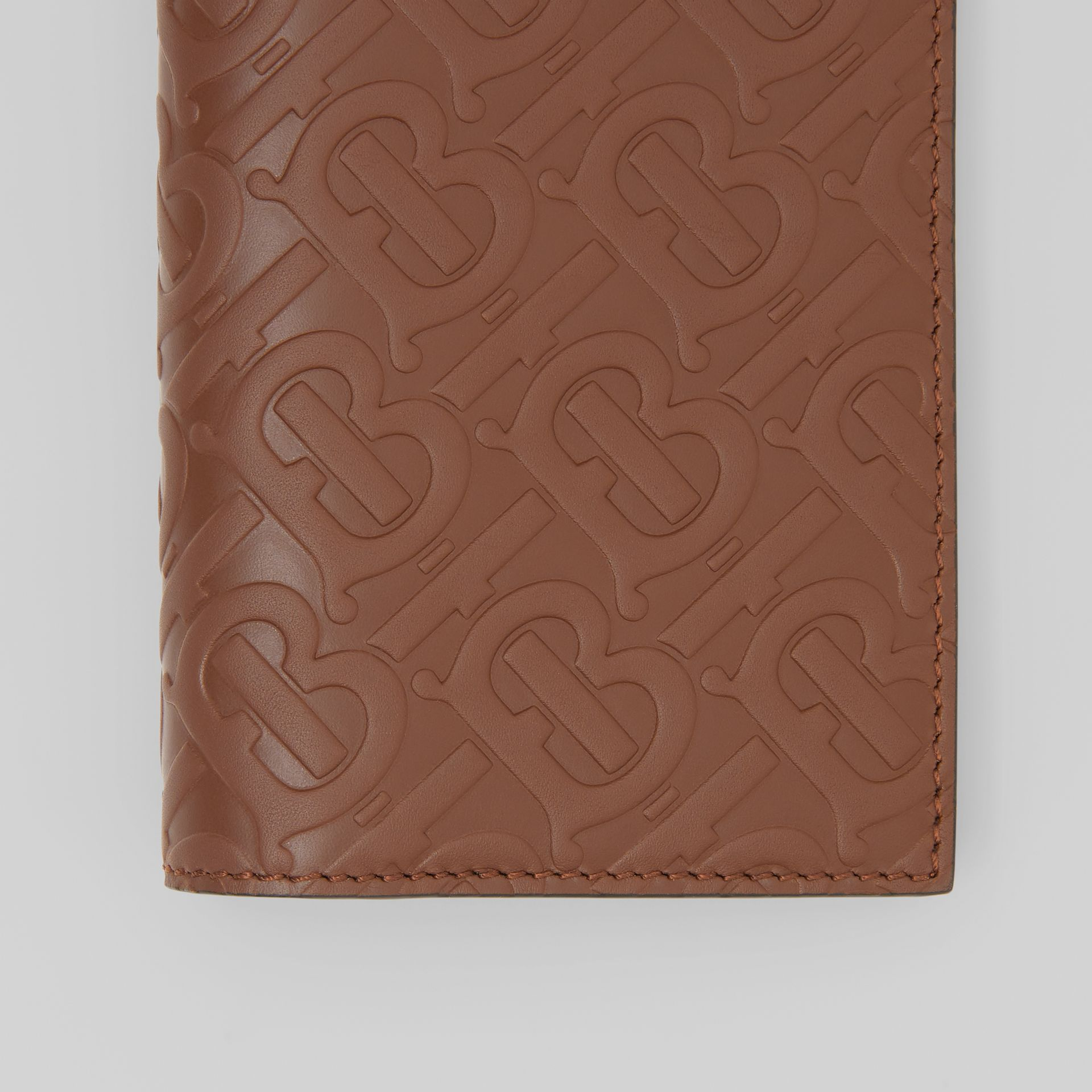 Monogram Leather Continental Wallet in Dark Tan - Men | Burberry - gallery image 1