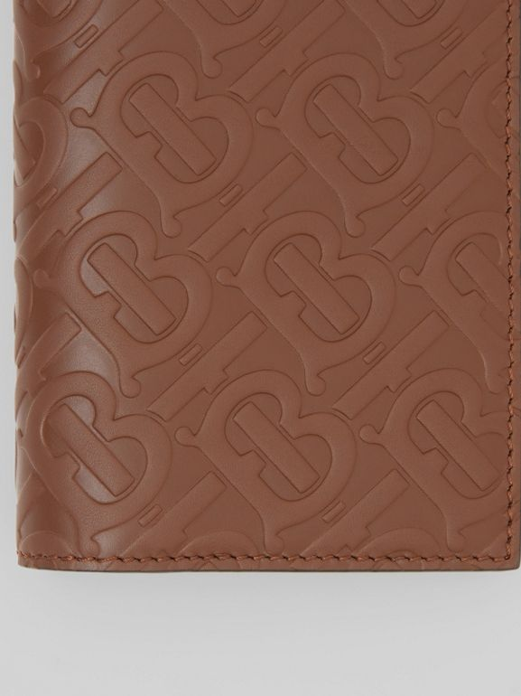 Monogram Leather Continental Wallet in Dark Tan - Men | Burberry - cell image 1
