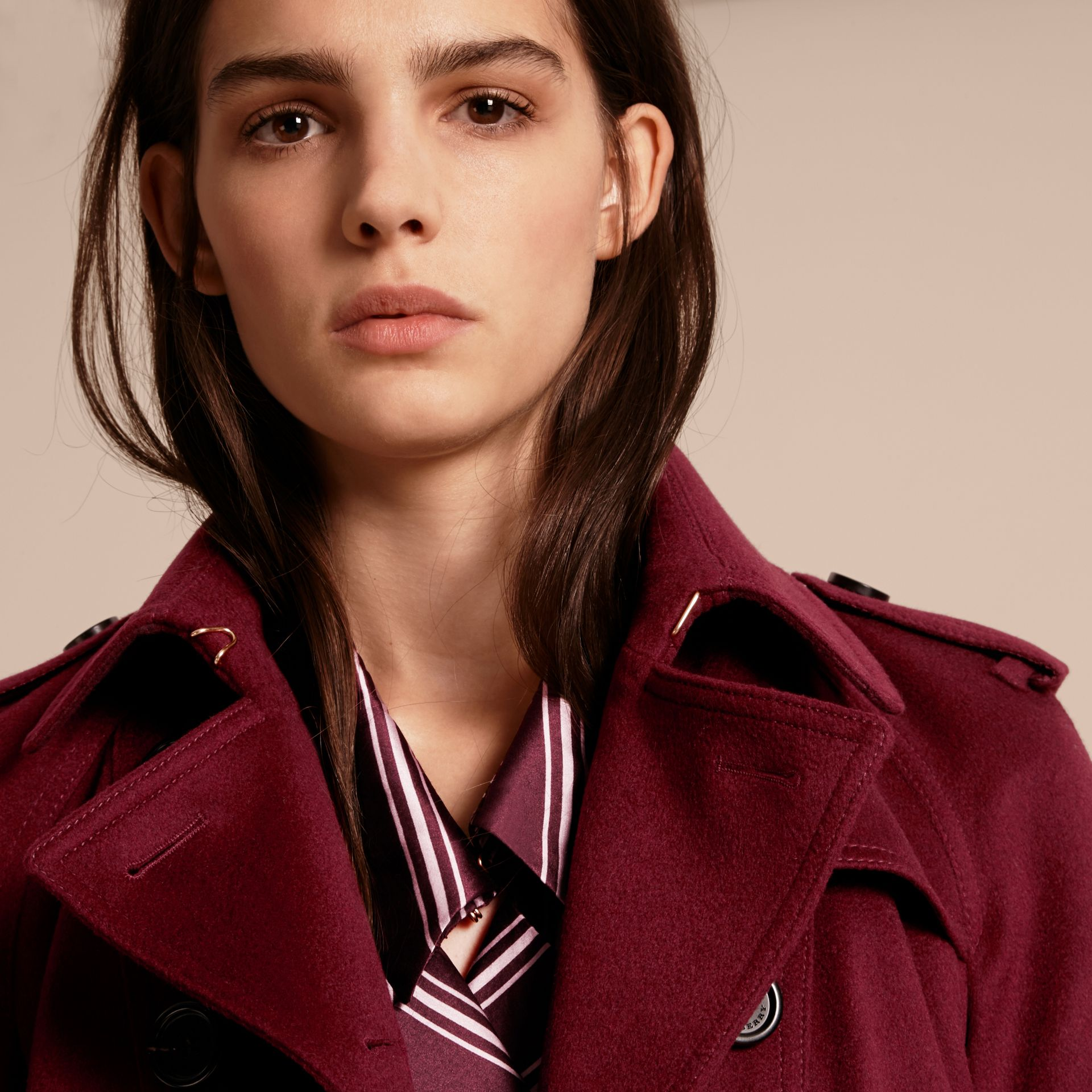 Burgundy Cashmere Trench Coat with Puff Sleeves Burgundy - gallery image 5