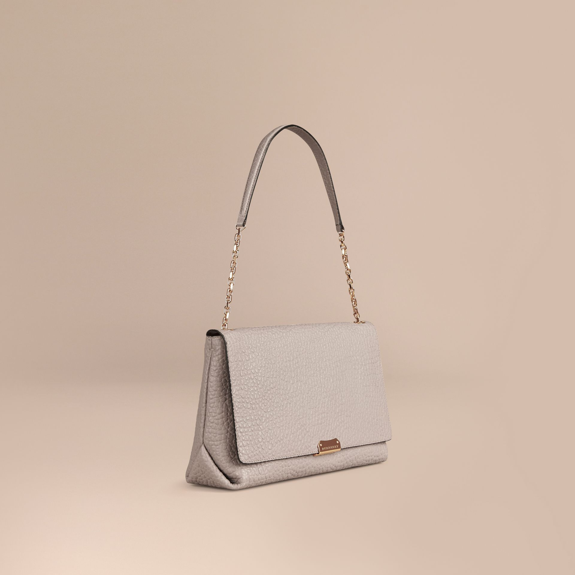 Pale grey Large Signature Grain Leather Shoulder Bag Pale Grey - gallery image 1