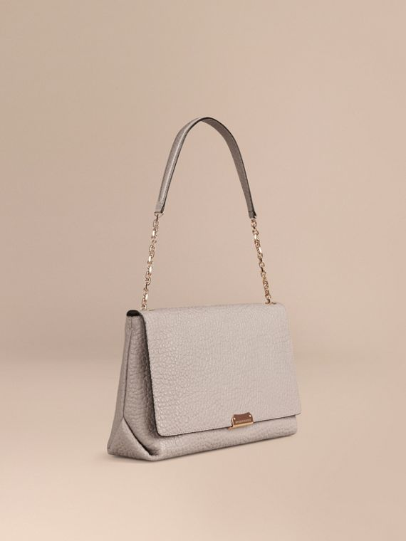 Large Signature Grain Leather Shoulder Bag Pale Grey