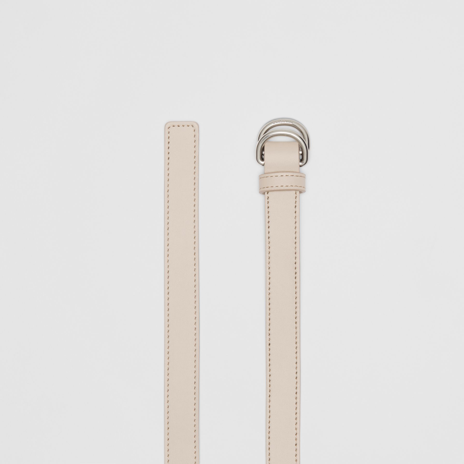 Slim Leather Double D-ring Belt in Limestone - Women | Burberry - gallery image 5