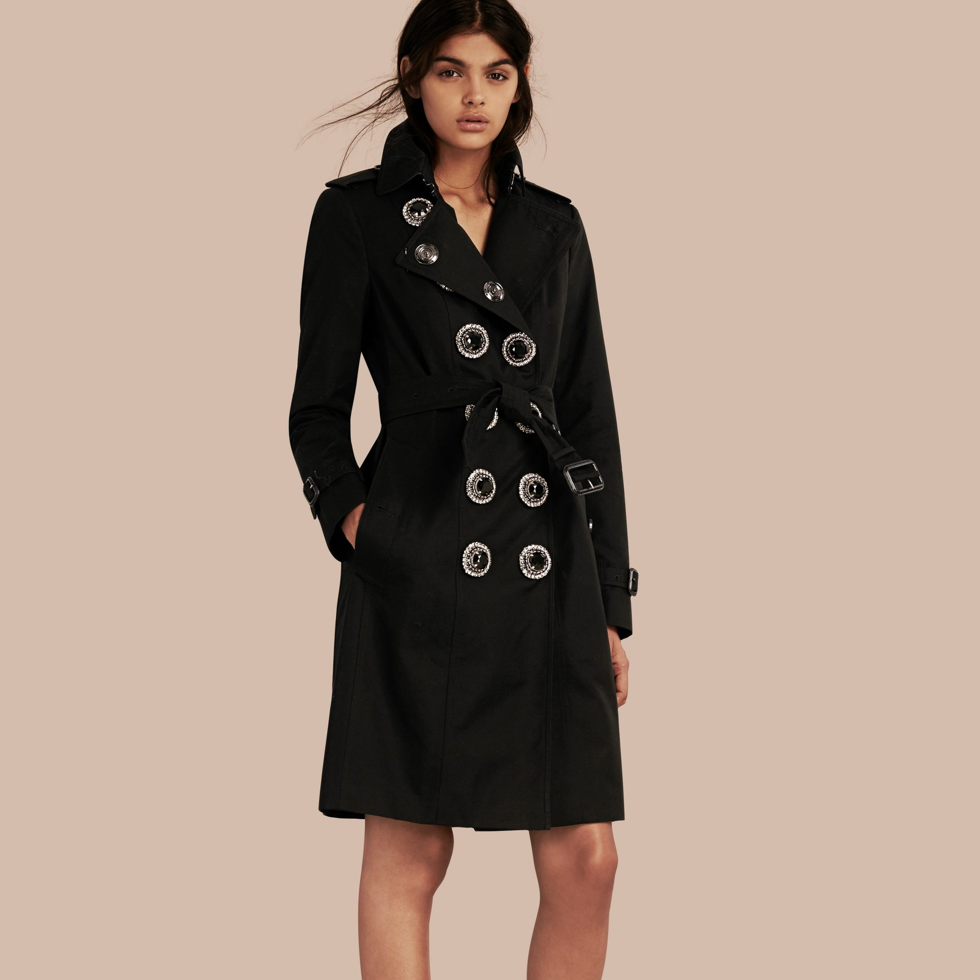 Black Cotton Gabardine Trench Coat with Embellished Fastening - gallery image 1