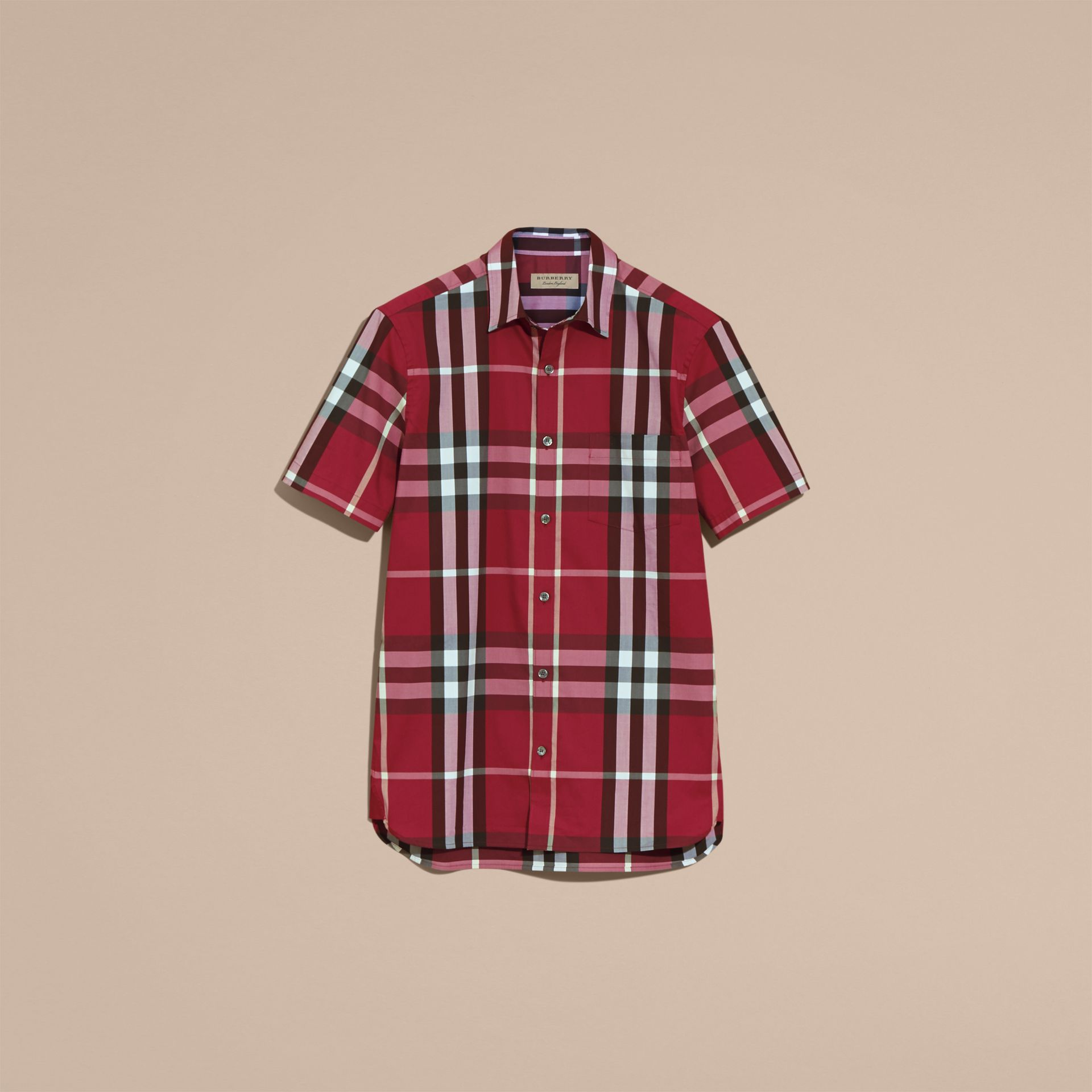Short-sleeved Check Stretch Cotton Shirt in Plum Pink - Men | Burberry - gallery image 4