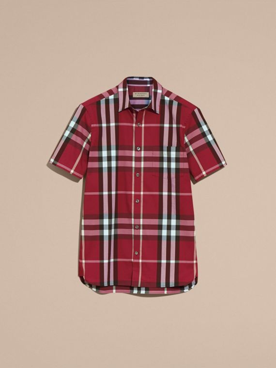 Short-sleeved Check Stretch Cotton Shirt in Plum Pink - Men | Burberry - cell image 3