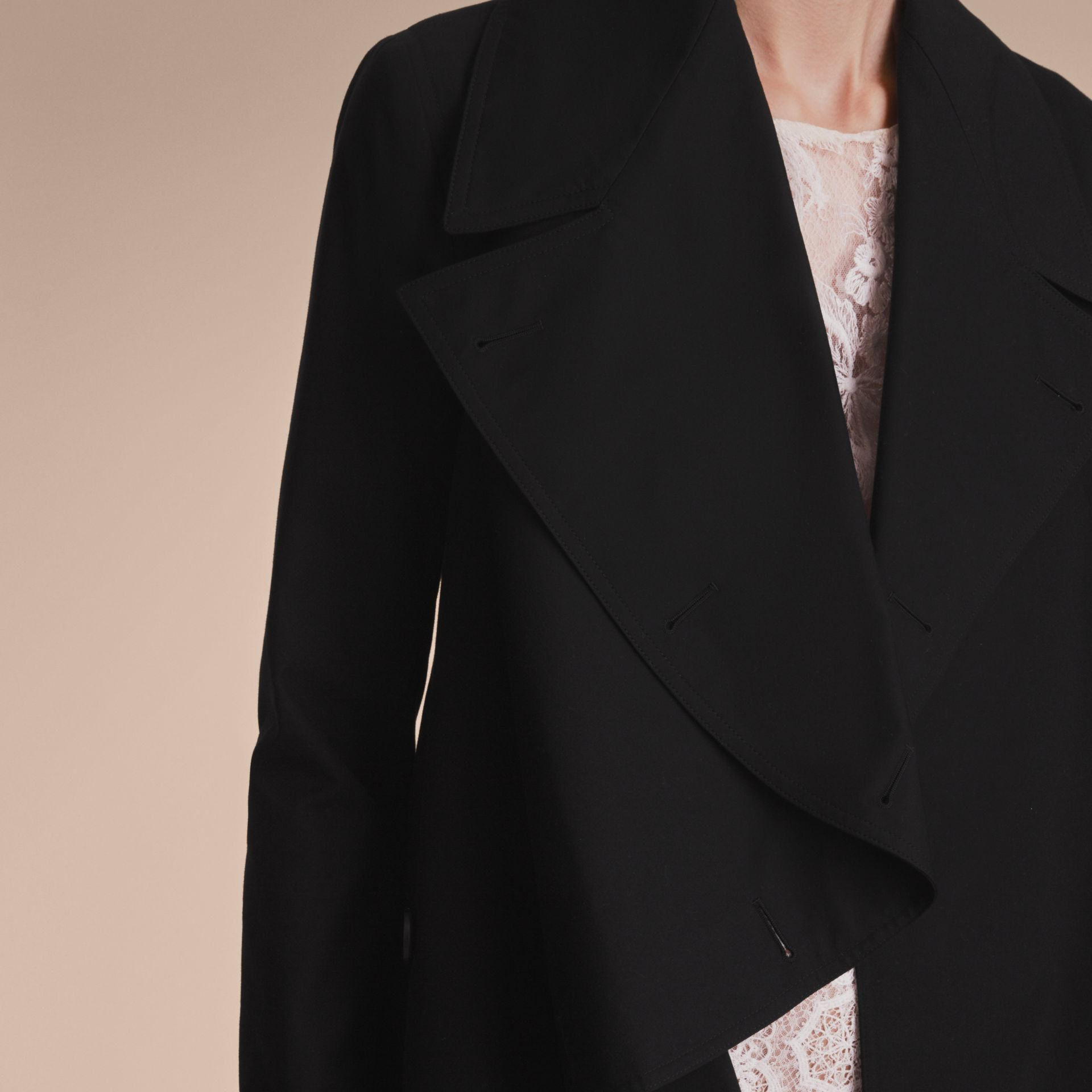 Cotton Gabardine Coat with Curved Closure - Women | Burberry - gallery image 5