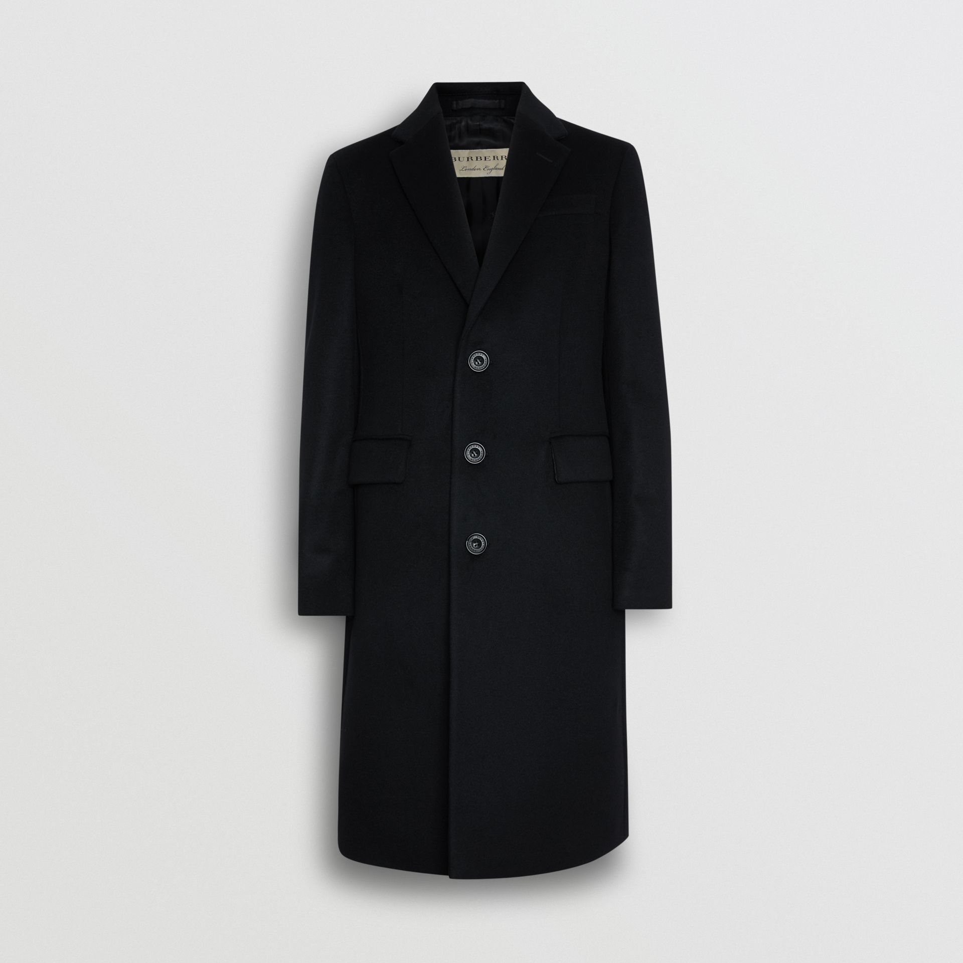 Wool Cashmere Tailored Coat in Black - Men | Burberry United Kingdom - gallery image 3