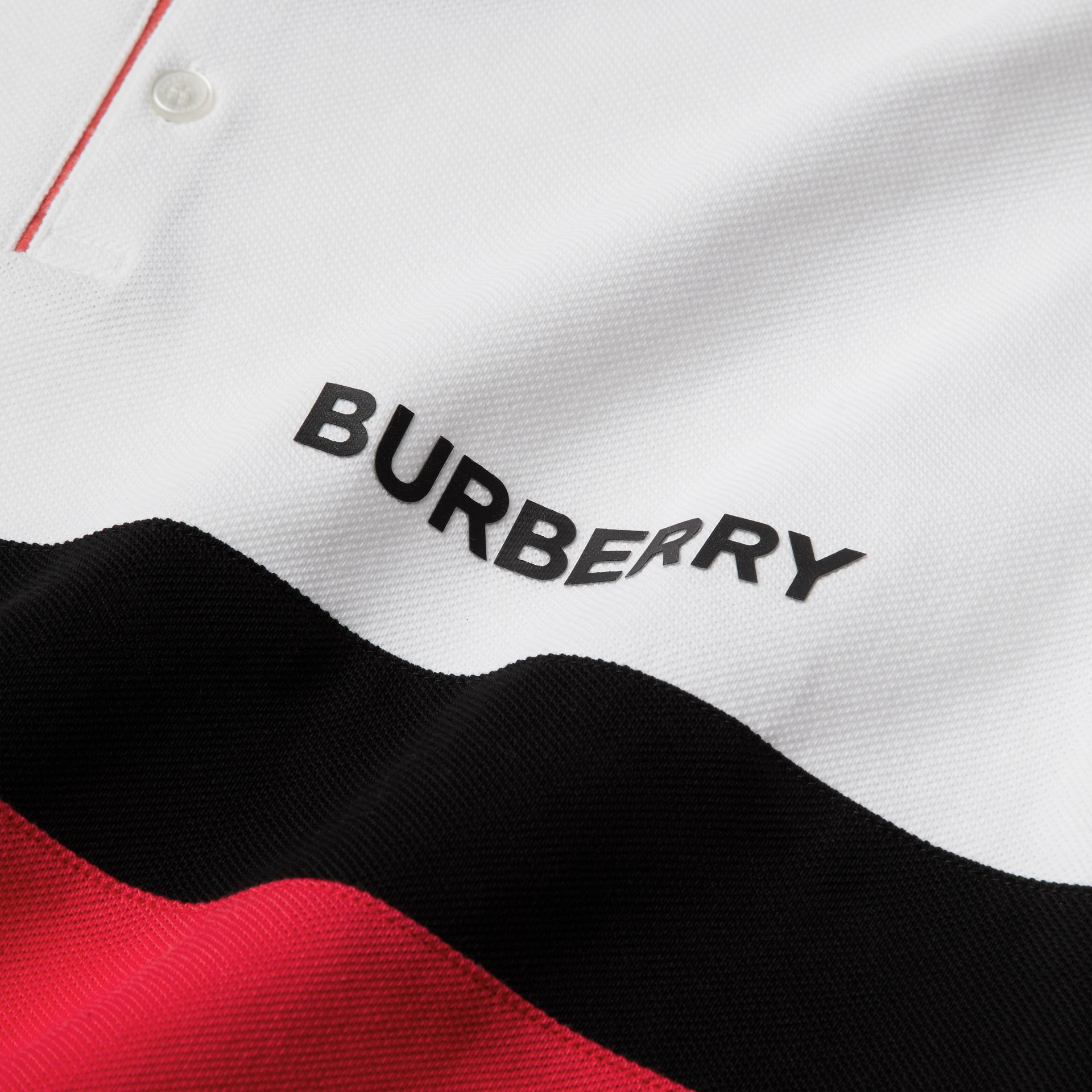 Stripe Panel Cotton Piqué Polo Shirt in White | Burberry - gallery image 5