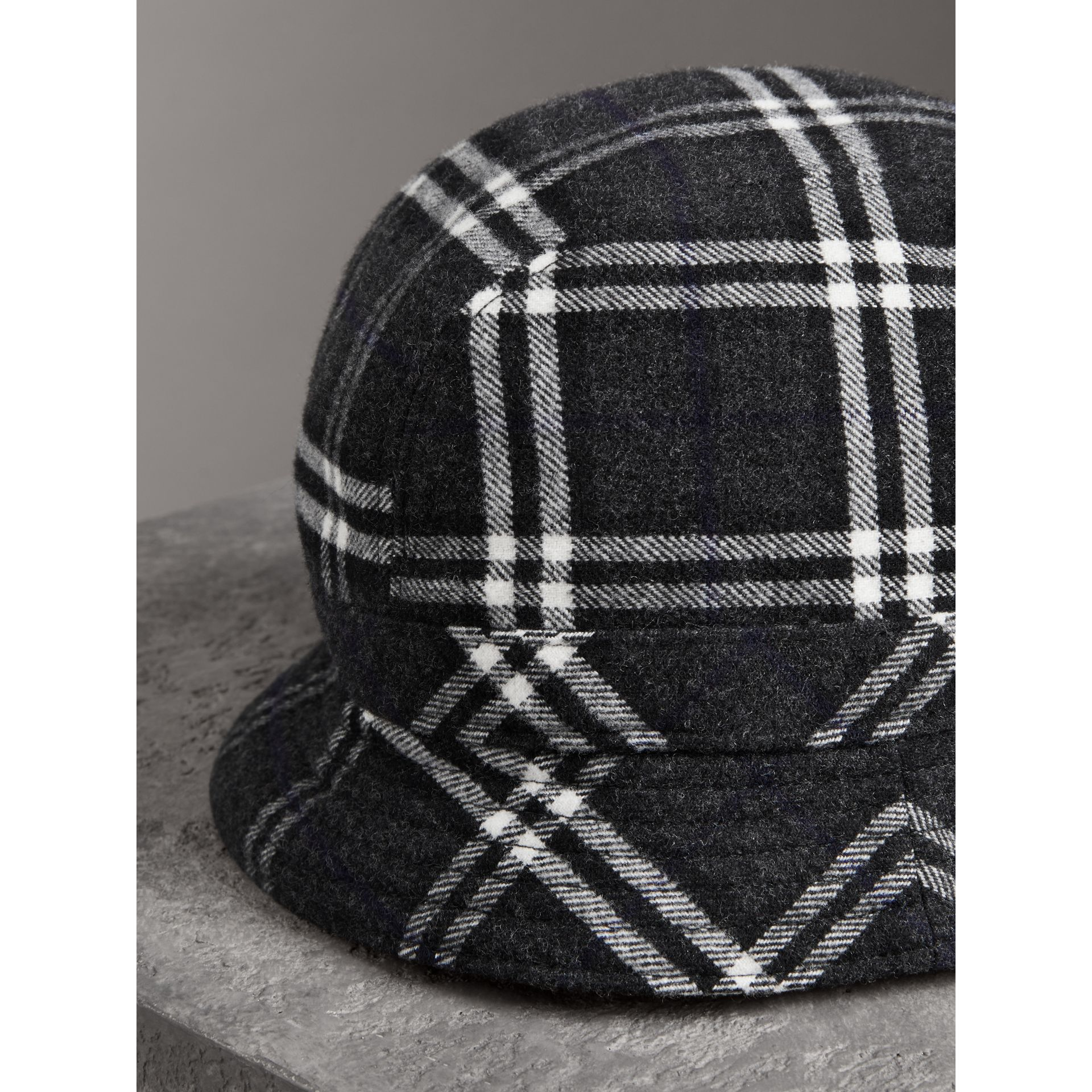 Gosha x Burberry Check Flannel Bucket Hat in Charcoal | Burberry Singapore - gallery image 2