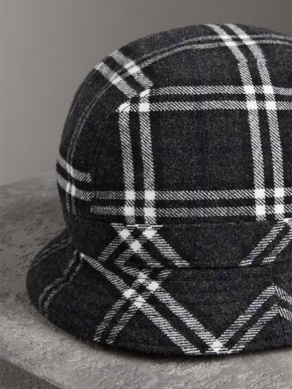 Gosha x Burberry Check Flannel Bucket Hat in Charcoal | Burberry - cell image 2