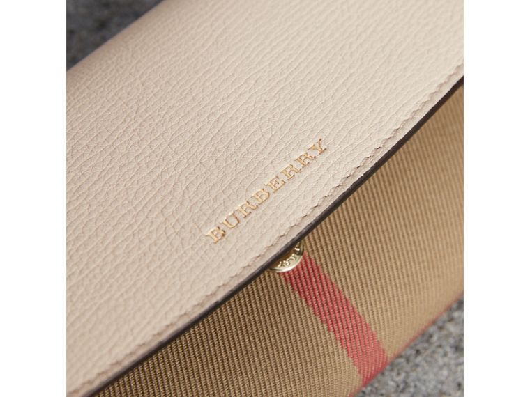 House Check And Leather Continental Wallet in Limestone - Women | Burberry - cell image 4