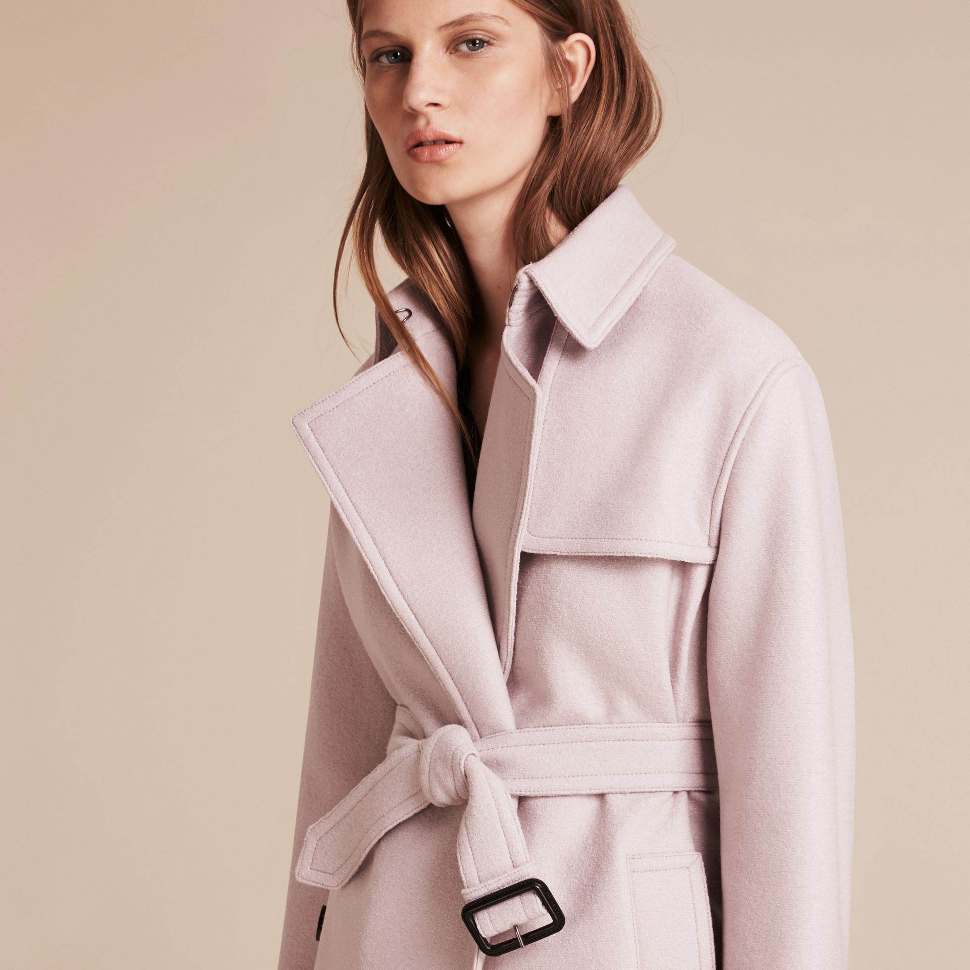 Pale orchid Wool Wrap Trench Coat - gallery image 5
