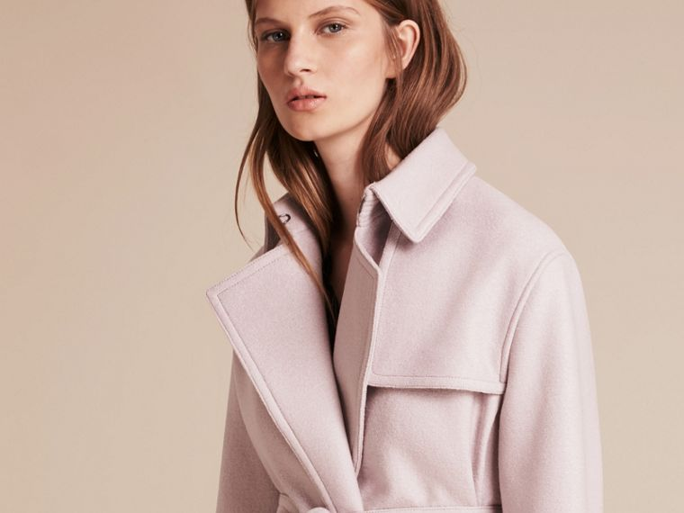 Pale orchid Wool Wrap Trench Coat - cell image 4