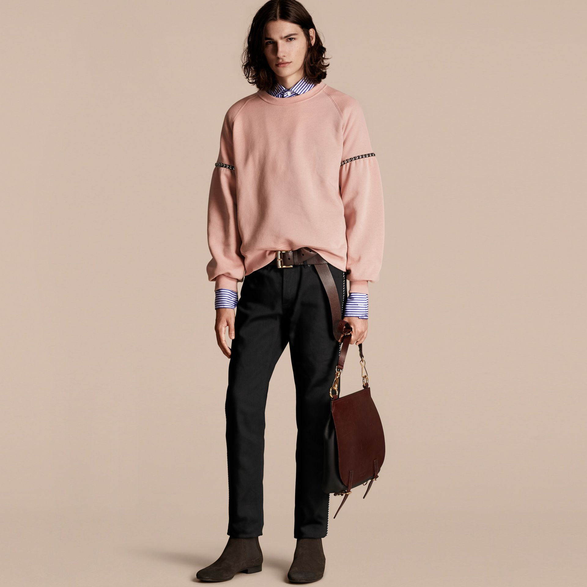 Dusty pink Bell-sleeved Cotton Blend Sweatshirt - gallery image 6
