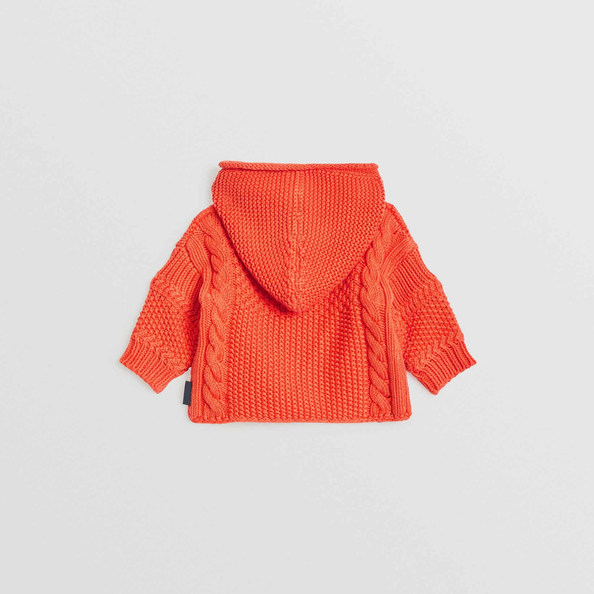Contrast Knit Cotton Hooded Jacket in Orange Red - Children | Burberry Singapore - gallery image 3